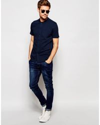 SELECTED - Blue Polo Shirt With Full Length Placket for Men - Lyst