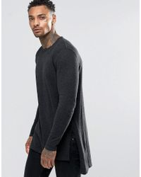 ASOS - Gray Longline Side Split Jumper In Charcoal for Men - Lyst
