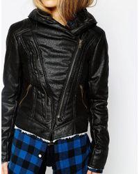 Blend She - Black Faux Fury Biker Jacket - Lyst