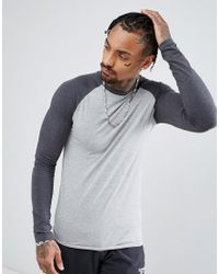 ASOS - Long Sleeve Muscle T-shirt With Contrast Raglan Sleeves In Gray Marl/charcoal Marl for Men - Lyst