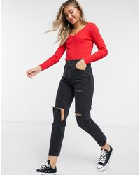 Brave Soul Red Just Ribbed Long Sleeve Top