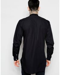 Lindbergh - Longline Shirt With Grandad Collar In Black for Men - Lyst