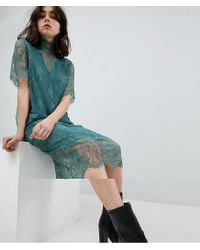 Pieces Green T-neck Lace Midi Dress