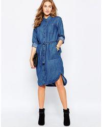 Pull&Bear - Blue Denim Dress - Lyst