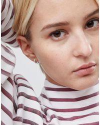 ASOS - Metallic Asos Sterling Silver Crystal Hinged Hoop Earrings - Lyst