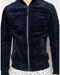 Esprit - Black Suede Bomber Jacket for Men - Lyst