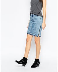 Noisy May Tall - Blue Denim Skirt With Side Zip - Lyst