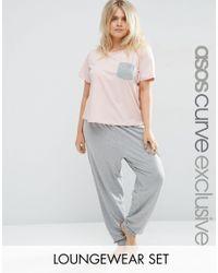 ASOS | Gray Lounge Basic Tee & Legging Set | Lyst