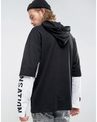 ASOS Black Hooded Oversized Long Sleeve T-shirt With Truth Print And Cut And Sew Panels for men