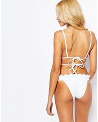 ASOS - White Mix And Match Crochet Lace Moulded Triangle Strappy Tie Back Bikini Top - Lyst