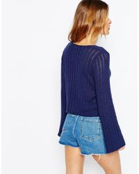 ASOS - Blue Jumper In Rib With Scoop Neck - Lyst