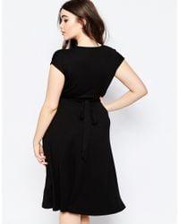 ASOS Black Belted Midi Dress With Plunge Neck