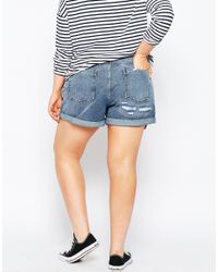 ASOS - White Curve Mom Shorts In Mid Wash With Exposed Pockets - Lyst