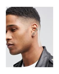 ASOS - Metallic Feather Ear Cuff In Burnished Gold for Men - Lyst