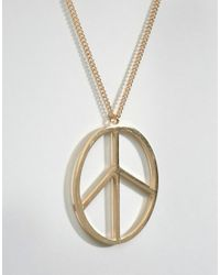 ASOS - Metallic Peace Sign Necklace In Gold for Men - Lyst