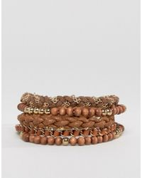 ASOS | Multi Beaded Bracelet Pack In Brown And Gold - Brown for Men | Lyst