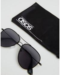 ASOS - Aviators With Flat Lens In Black for Men - Lyst