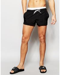 ASOS - Black Swim Shorts With Double Waistband Detail In Super Short Length for Men - Lyst