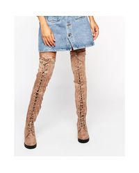 Truffle Collection | Natural Truffle Lace Up Over The Knee Chunky Boot | Lyst