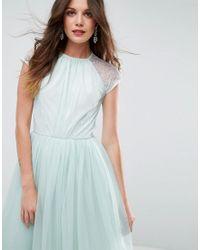 ASOS - Green Premium Lace Tulle Midi Prom Dress - Lyst