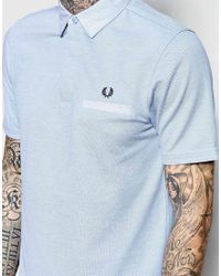 Stussy - Blue Polo Shirt With Woven Oxford Collar Slim Fit for Men - Lyst