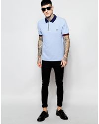 Stussy - Blue Polo Shirt With Contrast Collar Slim Fit for Men - Lyst
