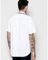 Fred Perry - White Shirt With Mix Pique And Tipped Collar Short Sleeves In Slim Fit for Men - Lyst