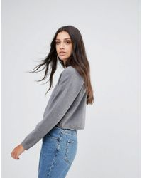 ASOS Gray Sweater In Boxy Crop