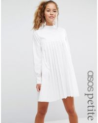 ASOS White Long Sleeve Cotton Pleated Dress