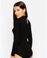 ASOS | Black High Neck Body With Plunge Detail | Lyst