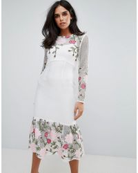 Forever Unique White Long Sleeve Floral Placement Dress With Peplum
