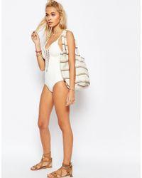 Billabong - White Crochet Swimsuit - Lyst