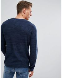 Jack & Jones Blue Knitted Jumper With Mixed Yarn Detail for men