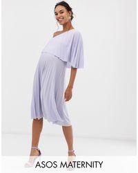 ASOS DESIGN Maternity - Vestito midi monospalla a pieghe di ASOS in Purple