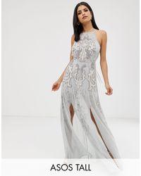 Vestido largo estilo pichi con detalles adornados ASOS de color Gray
