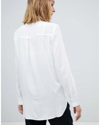 Mango Embellished Collar White Shirt