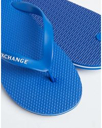 Chanclas azules con logo de Armani Exchange de hombre de color Blue