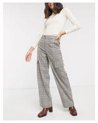 Pantaloni multitasche a quadri di TOPSHOP in Gray