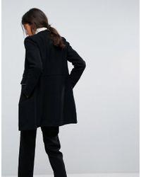 Esprit - Black Long Line Military Coat - Lyst