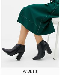 Truffle Collection Black Wide Fit Heeled Ankle Boots