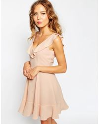 ASOS | Natural Skater Dress With Frill Detail | Lyst