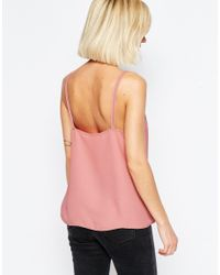 ASOS - Pink Woven Cami Top With Double Straps - Lyst