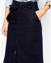 Warehouse Blue Denim Tie Waist Skirt