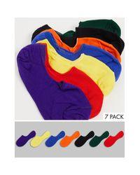 Набор Из 7 Пар Разноцветных Невидимых Носков ASOS для него, цвет: Multicolor