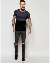 ASOS - Gray Extreme Muscle T-shirt With Cut And Sew Panel for Men - Lyst
