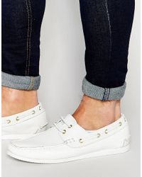 ASOS - Boat Shoes In White Leather for Men - Lyst