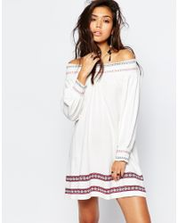 ASOS - White Knitted Swing Dress With Embroidered Detail - Lyst