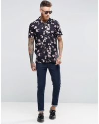 ASOS - Black Hawaiian Shirt In Viscose In Regular Fit for Men - Lyst