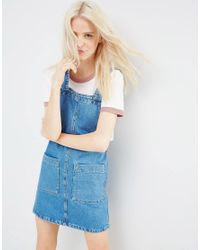 ASOS | Denim Mini Pinafore Dress In Mid-wash Blue | Lyst