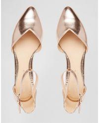 Dune - Metallic By Dune Hyrah Rose Gold Flat Shoes - Lyst